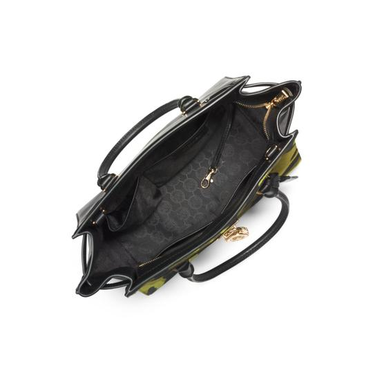 Michael Kors Leather Gold Haircalf Satchel in Camouflage Acid Yellow Black Image 10