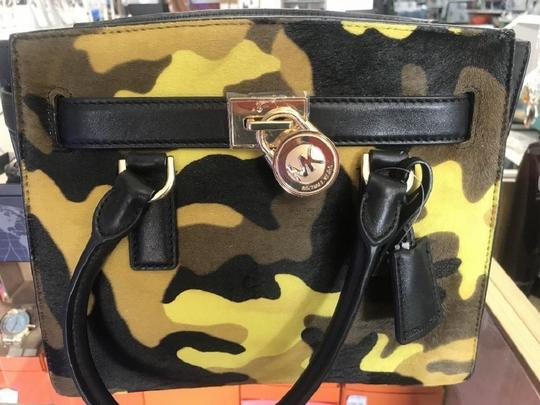 Michael Kors Leather Gold Haircalf Satchel in Camouflage Acid Yellow Black Image 3