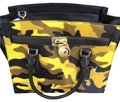 Michael Kors Leather Gold Haircalf Satchel in Camouflage Acid Yellow Black Image 4