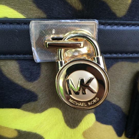 Michael Kors Leather Gold Haircalf Satchel in Camouflage Acid Yellow Black Image 5