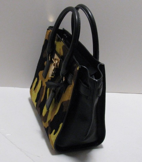 Michael Kors Leather Gold Haircalf Satchel in Camouflage Acid Yellow Black Image 6