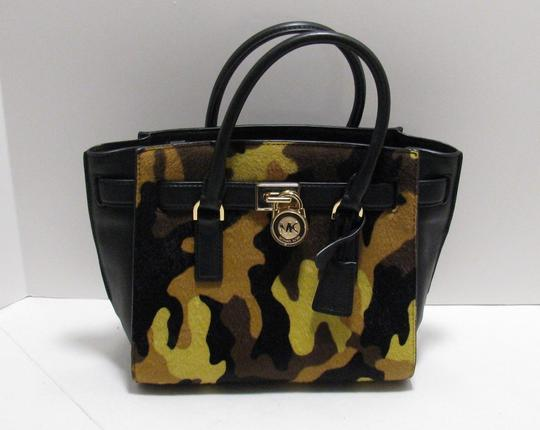 Michael Kors Leather Gold Haircalf Satchel in Camouflage Acid Yellow Black Image 7