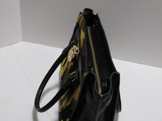 Michael Kors Leather Gold Haircalf Satchel in Camouflage Acid Yellow Black Image 8