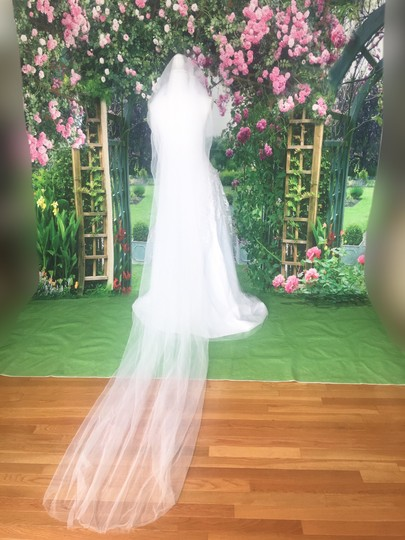 Long White Or Ivory 3m/10ft 2t Cut Edge Cathedral Bridal Veil Image 1
