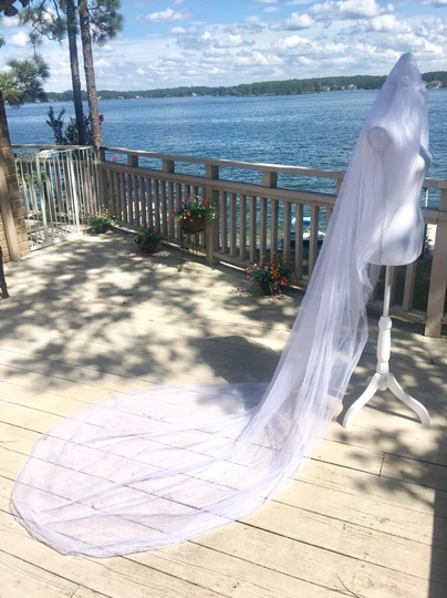 Long White Or Ivory 3m/10ft 2t Cut Edge Cathedral Bridal Veil Image 3
