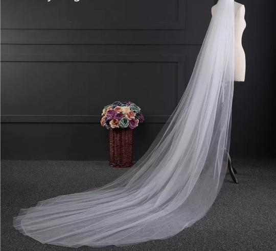 Long White Or Ivory 3m/10ft 2t Cut Edge Cathedral Bridal Veil Image 4