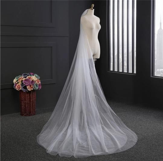 Long White Or Ivory 3m/10ft 2t Cut Edge Cathedral Bridal Veil Image 5