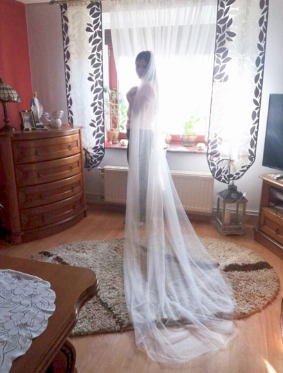 Long White Or Ivory 3m/10ft 2t Cut Edge Cathedral Bridal Veil Image 7