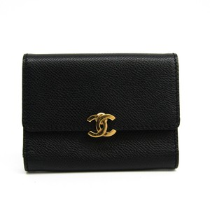 Chanel Chanel Leather Card Case Black Folding in three