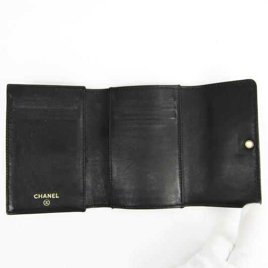 Chanel Chanel Leather Card Case Black Folding in three Image 2