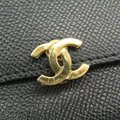 Chanel Chanel Leather Card Case Black Folding in three Image 6