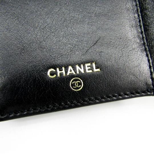Chanel Chanel Leather Card Case Black Folding in three Image 7