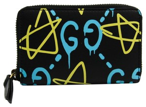 Gucci Gucci Leather Card Case Black,Blue,Yellow 448465 DS1AT 8438