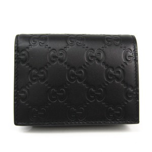 Gucci Gucci Guccissima Leather Card Case Black 410120