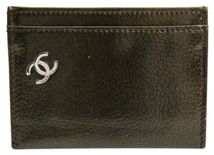 Chanel Chanel A36499 Patent Leather Card Case Khaki