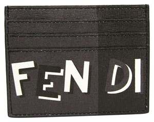 Fendi Fendi 7M0164 Leather Card Case Black,Gray
