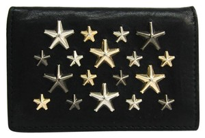 Jimmy Choo Jimmy Choo Leather Studded Card Case Black