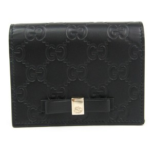 Gucci Gucci Guccissima 406924 Leather Card Case Black