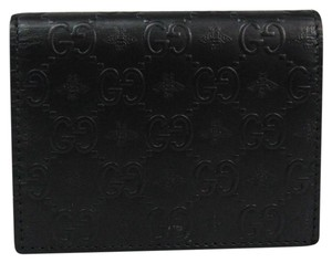 Gucci Gucci GG Alveare 410120 Leather Card Case Black