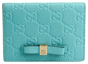 Gucci Gucci Guccissima 388684 Leather Card Case Blue
