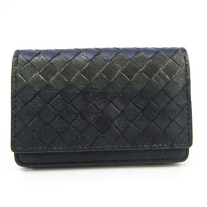 Bottega Veneta Bottega Veneta Intrecciato 113283 Leather Card Case Black,Dark Blue,Dark Gray