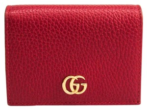 Gucci Red Leather Marmont GG Card Case 25862071