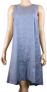 Theory short dress Blue Linen Blend Sleeveless Hi Lo Shift on Tradesy
