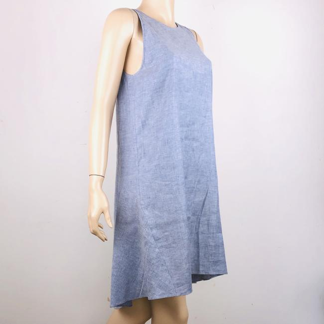 Theory short dress Blue Linen Blend Sleeveless Hi Lo Shift on Tradesy Image 4
