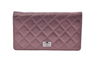 Chanel Chanel 2.55 Lambskin Wallet Metallic Purple