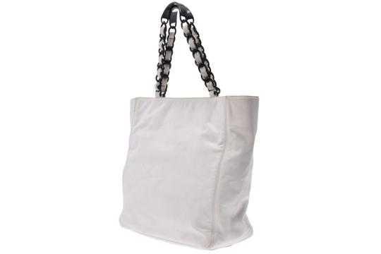 Chanel Leather Shopping Tote in White Image 1