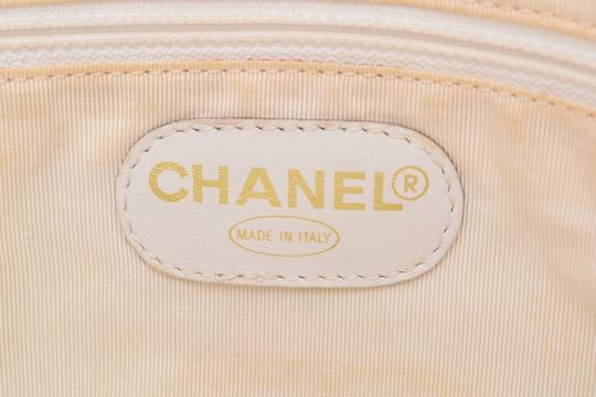 Chanel Leather Shopping Tote in White Image 13