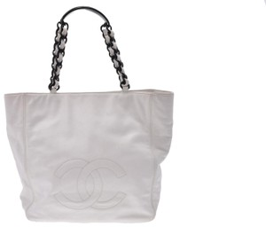 Chanel Leather Shopping Tote in White