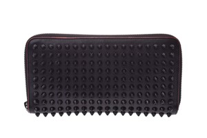 Christian Louboutin Black and Red Studded Calfskin Long Zip Around Wallet