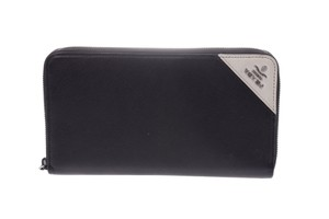 Prada Black Saffiano Leather Long Zip Around Wallet