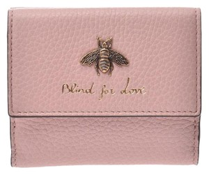 Gucci Gucci Compact Wallet Be Pink Ladies Leather