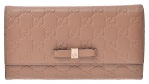 Gucci Gucci Guccisima Fastener Long Ribbon Beige Women's Leather