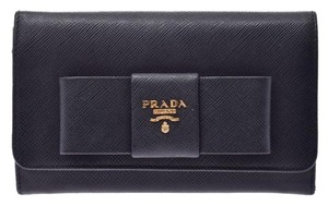 Prada Prada Fastener Purse Ribbon Motif Black 1MH 438 Ladies Safiano