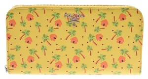 Prada Yellow Tropical Print 1ml506 Long Zip Around Wallet