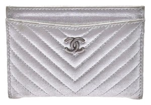 Chanel Silver Calfskin Chevron Card Case