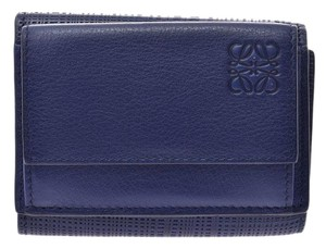Loewe Loewe Tri-Fold Tri-fold Wallet Blue Men's Women's Calf Compacts