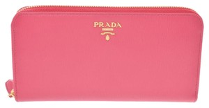 Prada Peony Pink Leather Zip Around Long 1ml506 Wallet