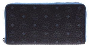 MCM Black / Blue Leather Zip Around Wallet