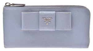 Prada Light Blue Bow Motif Saffiano Leather Zip Wallet