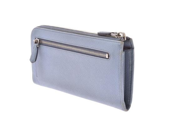 Prada Light Blue Bow Motif Saffiano Leather Zip Wallet Image 1