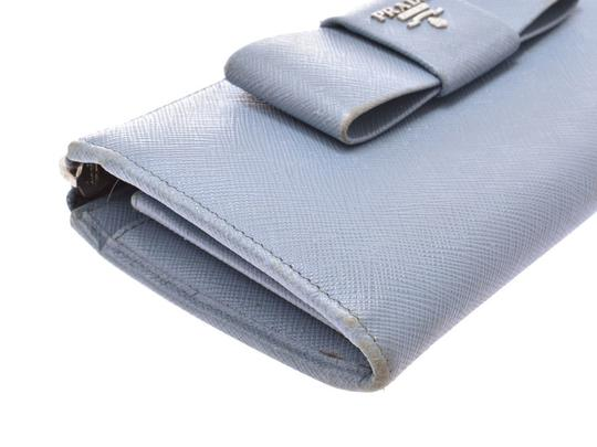 Prada Light Blue Bow Motif Saffiano Leather Zip Wallet Image 3