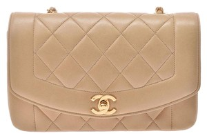 Chanel Diana Matelasse Lambskin Leather Shoulder Bag