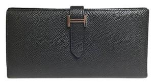 Hermès Black / Silver Long R Engraved Epsom Leather Bearn Wallet