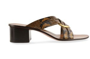 Chloé Leather Gold Hardware Brown Sandals