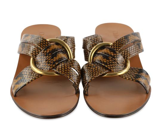 Chloé Leather Gold Hardware Brown Sandals Image 2