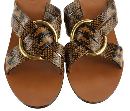Chloé Leather Gold Hardware Brown Sandals Image 5